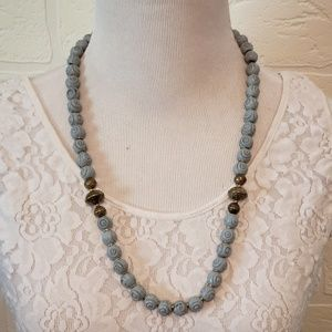 Lt Blue and Gold Tone Beaded Necklace